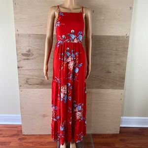 Band of Gypsies Red Floral Maxi Dress